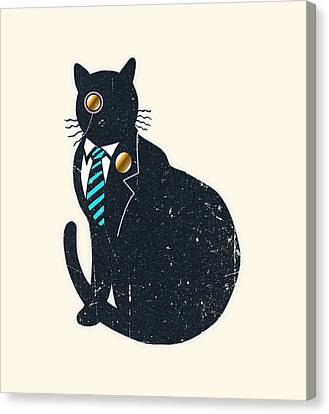 Black Tie Canvas Print - Bad Black Cat by Illustratorial Pulse
