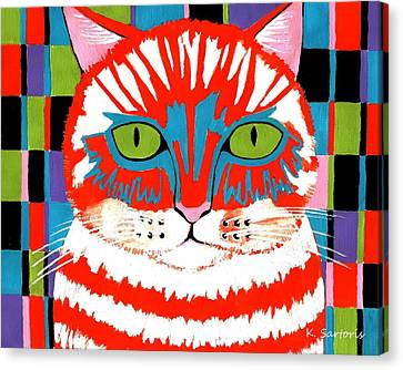 Canvas Print featuring the painting Bad Cattitude by Kathleen Sartoris