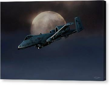 Canvas Print featuring the digital art Bad Moon by Peter Chilelli
