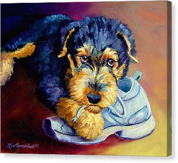Tennis Shoe Canvas Print - Bad Puppy Airedale Terrier by Lyn Cook