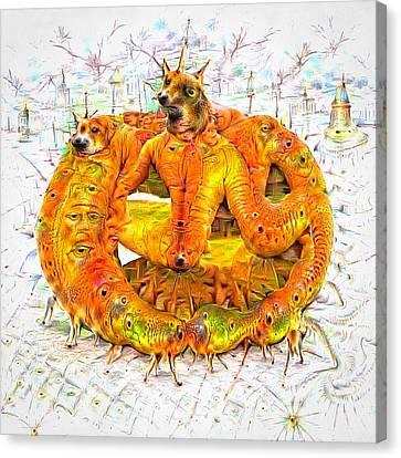 Bad Trip - Orange Deep Dream Creature Canvas Print