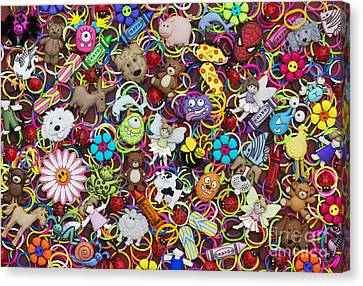 Badges Bands And Monsters Canvas Print by Tim Gainey