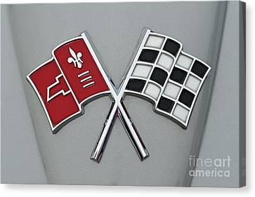 Mascot Canvas Print - Badge Of 1966 Chevrolet Corvette Sting Ray 427 Turbo-jet by George Atsametakis