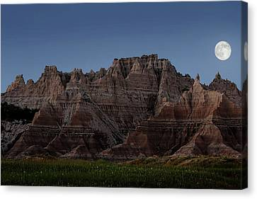 Canvas Print featuring the photograph Badlands Moon Rising by Jemmy Archer