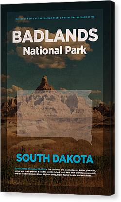 Badlands National Park In South Dakota Travel Poster Series Of National Parks Number 03 Canvas Print