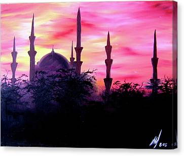 Canvas Print featuring the painting Baghdad Sunset by Michael McKenzie