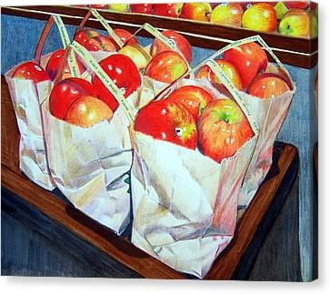 Canvas Print featuring the mixed media Bags Of Apples by Constance Drescher