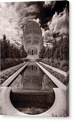 Bahai Temple Reflecting Pool Canvas Print by Steve Gadomski