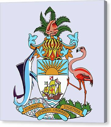 Flamingo Canvas Print - Bahamas Coat Of Arms by Movie Poster Prints