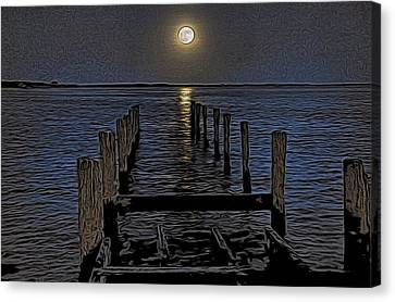 Canvas Print - Bahamas Nocturne Woodblock  by Steven Richman