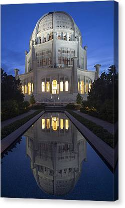 Bah'i Temple With Reflection Pool At Dusk Canvas Print by Sven Brogren