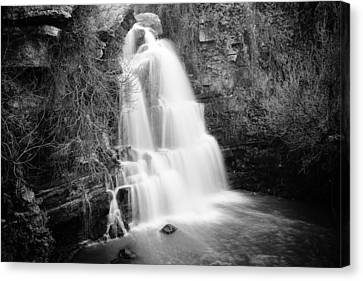Bajouca Waterfall Bw Canvas Print by Marco Oliveira