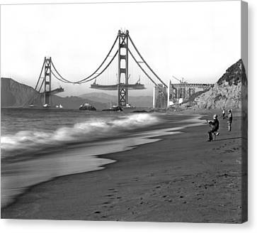 Baker Beach In Sf Canvas Print by Underwood Archives