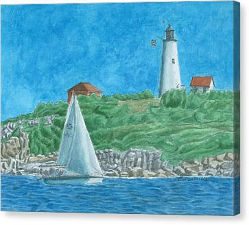 Bakers Island Lighthouse Canvas Print by Dominic White