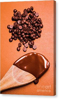 Baking Scene Of Spoon Covered With Chocolate Canvas Print by Jorgo Photography - Wall Art Gallery