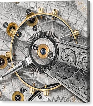 Balance Wheel Of An Antique Pocketwatch Canvas Print by Jim Hughes