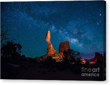 Dark Skies Canvas Print - Balanced Rock And Milky Way At Night  by Gary Whitton