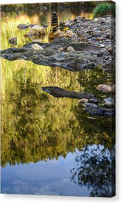 Chakra Therapy Canvas Print - Balancing Zen Stones In Countryside River Ix by Marco Oliveira