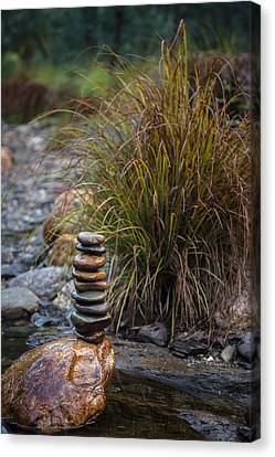 Balancing Zen Stones In Countryside River V Canvas Print by Marco Oliveira