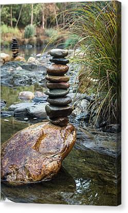 Balancing Zen Stones In Countryside River Vi Canvas Print