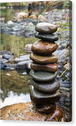 Balancing Zen Stones In Countryside River Vii Canvas Print by Marco Oliveira
