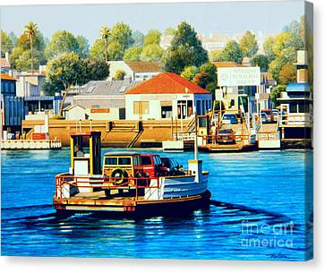 Woodies Canvas Print - Balboa Island Ferry by Frank Dalton