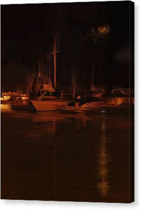 Balboa Island Newport Bay Night Canvas Print by Angela A Stanton