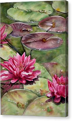 Canvas Print featuring the painting Balboa Water Lilies by Mary McCullah