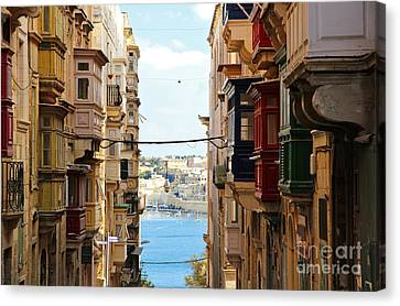 Maltese Canvas Print - Balconies Of Valletta 2 by Jasna Buncic