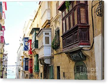 Balconies Of Valletta 3 Canvas Print