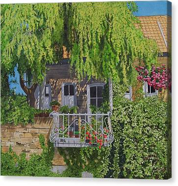 Canvas Print featuring the mixed media Balcony With Flowers by Constance Drescher