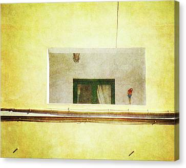 Canvas Print featuring the photograph Balcony With Parrot by Anne Kotan