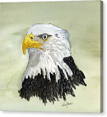 Canvas Print featuring the painting Bald Eagle by Eva Ason