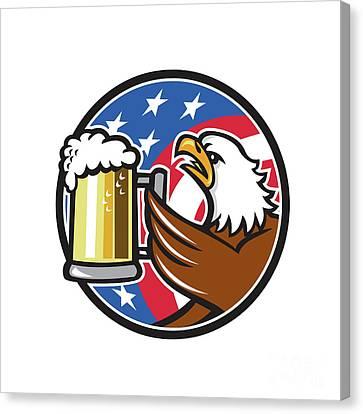 Bald Eagle Hoisting Beer Stein Usa Flag Circle Retro Canvas Print by Aloysius Patrimonio
