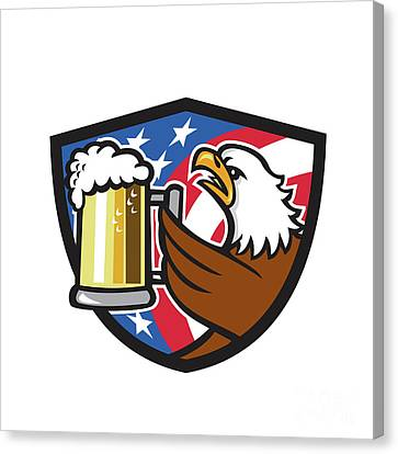 Bald Eagle Hoisting Beer Stein Usa Flag Crest Retro Canvas Print by Aloysius Patrimonio