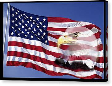 Bald Eagle On Flag Canvas Print by Panoramic Images