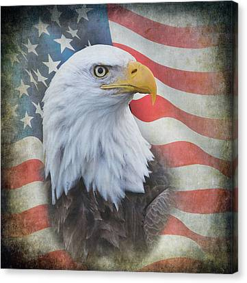 Canvas Print featuring the photograph Bald Eagle With American Flag by Angie Vogel