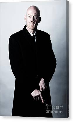 Bald Headed Man Wearing Heavy Black Overcoat Cocking Automatic Handgun Model Released Image Canvas Print by Joe Fox