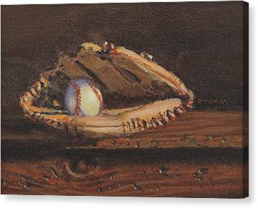 Ball And Glove Canvas Print by Bill Tomsa