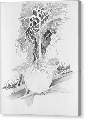 Ball And Tree Canvas Print by Padamvir Singh