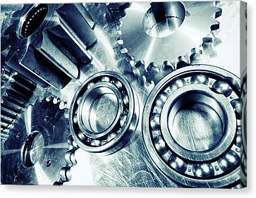 Canvas Print featuring the photograph Ball-bearings And Cogs In Titanium by Christian Lagereek