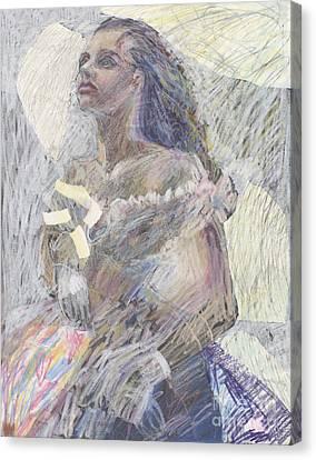Ball Gown Model - Original Drawing Canvas Print by Elizabetha Fox