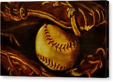Ball In Glove 2 Canvas Print by Lindsay Frost