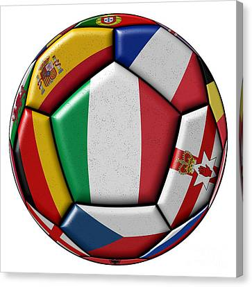 European Championship Canvas Print - Ball With Flag Of Italy In The Center by Michal Boubin