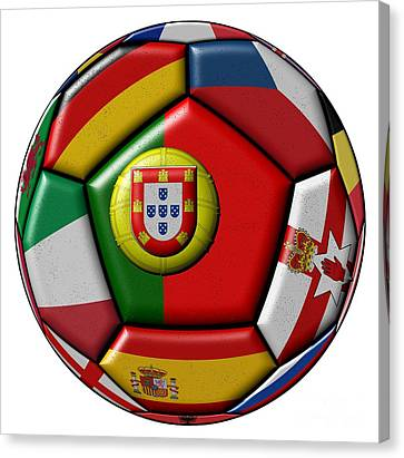 European Championship Canvas Print - Ball With Flag Of Portugal In The Center by Michal Boubin