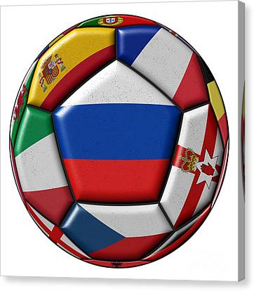 European Championship Canvas Print - Ball With Flag Of Russia In The Center by Michal Boubin