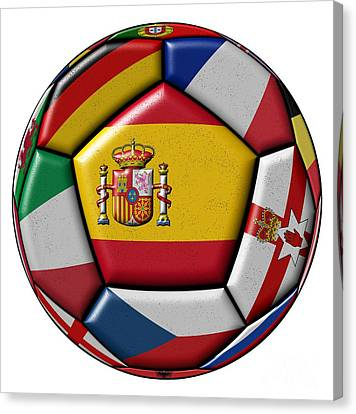 European Championship Canvas Print - Ball With Flag Of Spain In The Center by Michal Boubin