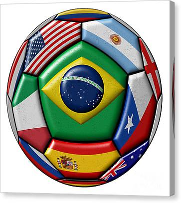 Ball With Various Flags Canvas Print by Michal Boubin