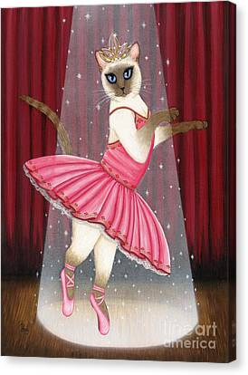 Canvas Print featuring the painting Ballerina Cat - Dancing Siamese Cat by Carrie Hawks