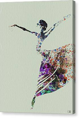 Ballet Dancers Canvas Print - Ballerina Dancing Watercolor by Naxart Studio